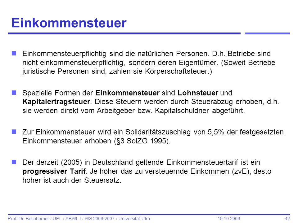 42 Prof. Dr. Beschorner / UPL / ABWL I / WS 2006-2007 / Universität Ulm 19.10.2006 Einkommensteuer nEinkommensteuerpflichtig sind die natürlichen Pers