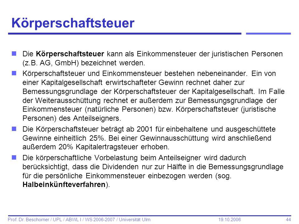 44 Prof. Dr. Beschorner / UPL / ABWL I / WS 2006-2007 / Universität Ulm 19.10.2006 Körperschaftsteuer nDie Körperschaftsteuer kann als Einkommensteuer