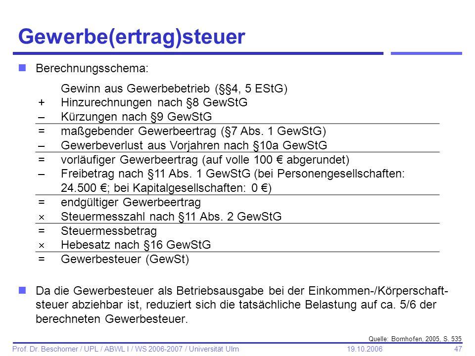 47 Prof. Dr. Beschorner / UPL / ABWL I / WS 2006-2007 / Universität Ulm 19.10.2006 Gewerbe(ertrag)steuer nBerechnungsschema: nDa die Gewerbesteuer als