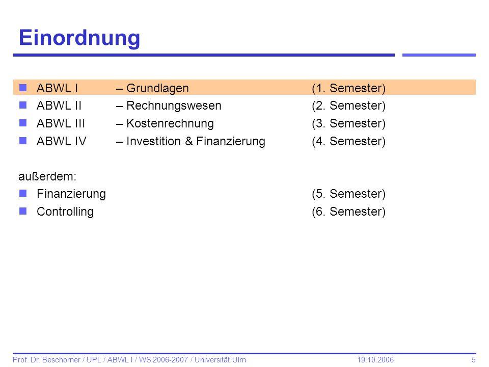 5 Prof. Dr. Beschorner / UPL / ABWL I / WS 2006-2007 / Universität Ulm 19.10.2006 Einordnung nABWL I – Grundlagen(1. Semester) nABWL II– Rechnungswese