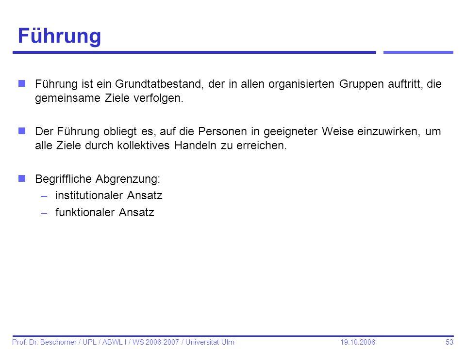 53 Prof. Dr. Beschorner / UPL / ABWL I / WS 2006-2007 / Universität Ulm 19.10.2006 Führung nFührung ist ein Grundtatbestand, der in allen organisierte