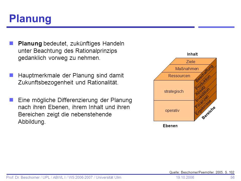 56 Prof. Dr. Beschorner / UPL / ABWL I / WS 2006-2007 / Universität Ulm 19.10.2006 Planung Quelle: Beschorner/Peemöller, 2005, S. 102 Ziele Maßnahmen