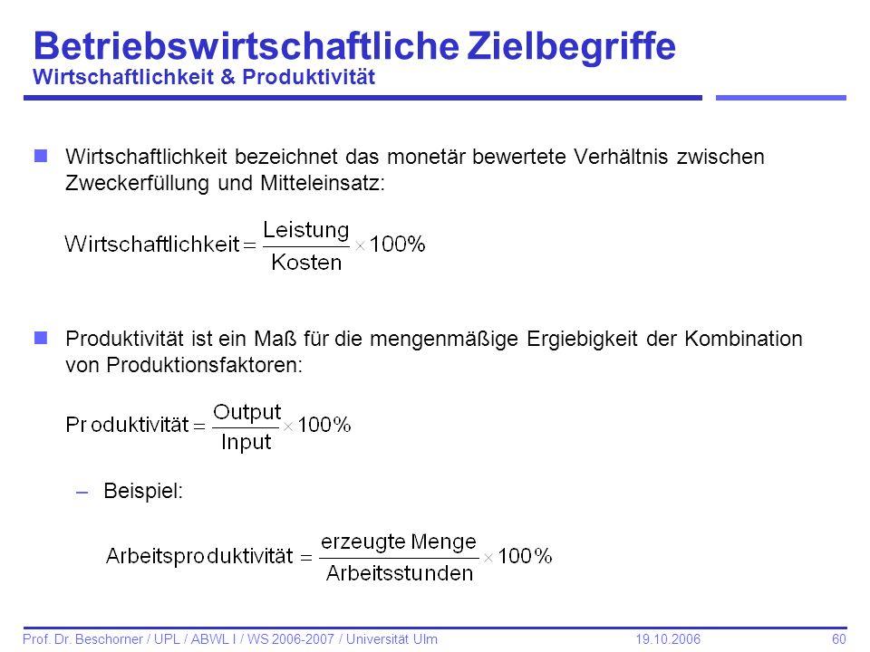 60 Prof. Dr. Beschorner / UPL / ABWL I / WS 2006-2007 / Universität Ulm 19.10.2006 Betriebswirtschaftliche Zielbegriffe Wirtschaftlichkeit & Produktiv