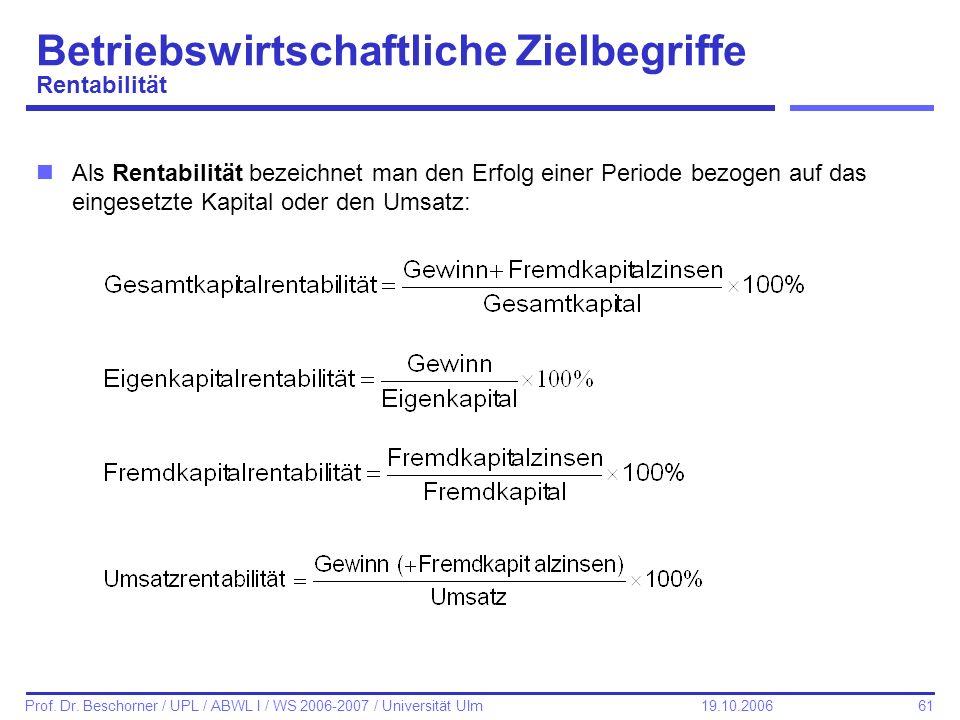 61 Prof. Dr. Beschorner / UPL / ABWL I / WS 2006-2007 / Universität Ulm 19.10.2006 Betriebswirtschaftliche Zielbegriffe Rentabilität nAls Rentabilität