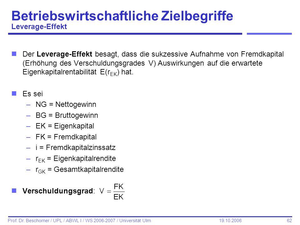 62 Prof. Dr. Beschorner / UPL / ABWL I / WS 2006-2007 / Universität Ulm 19.10.2006 Betriebswirtschaftliche Zielbegriffe Leverage-Effekt nDer Leverage-