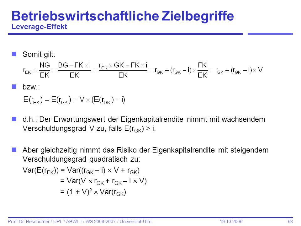 63 Prof. Dr. Beschorner / UPL / ABWL I / WS 2006-2007 / Universität Ulm 19.10.2006 Betriebswirtschaftliche Zielbegriffe Leverage-Effekt nSomit gilt: n