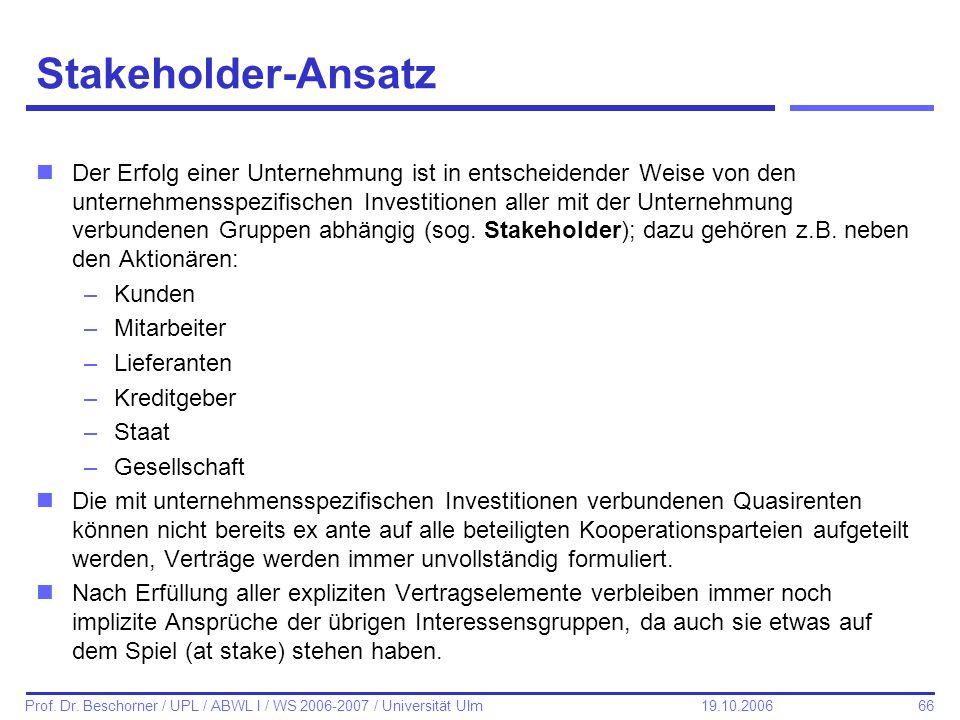 66 Prof. Dr. Beschorner / UPL / ABWL I / WS 2006-2007 / Universität Ulm 19.10.2006 Stakeholder-Ansatz nDer Erfolg einer Unternehmung ist in entscheide