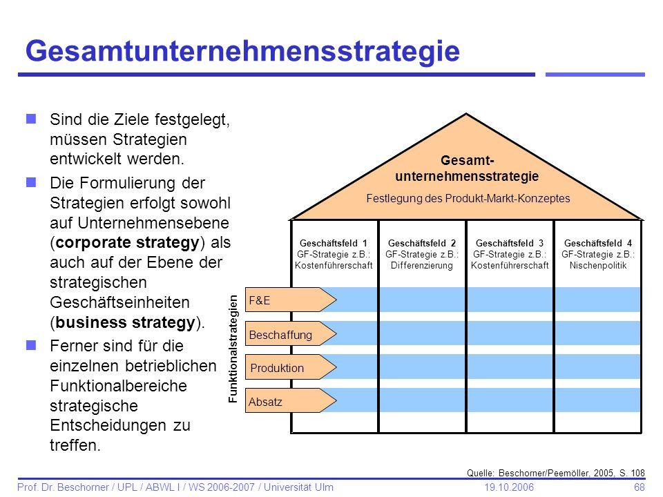 68 Prof. Dr. Beschorner / UPL / ABWL I / WS 2006-2007 / Universität Ulm 19.10.2006 Gesamtunternehmensstrategie nSind die Ziele festgelegt, müssen Stra