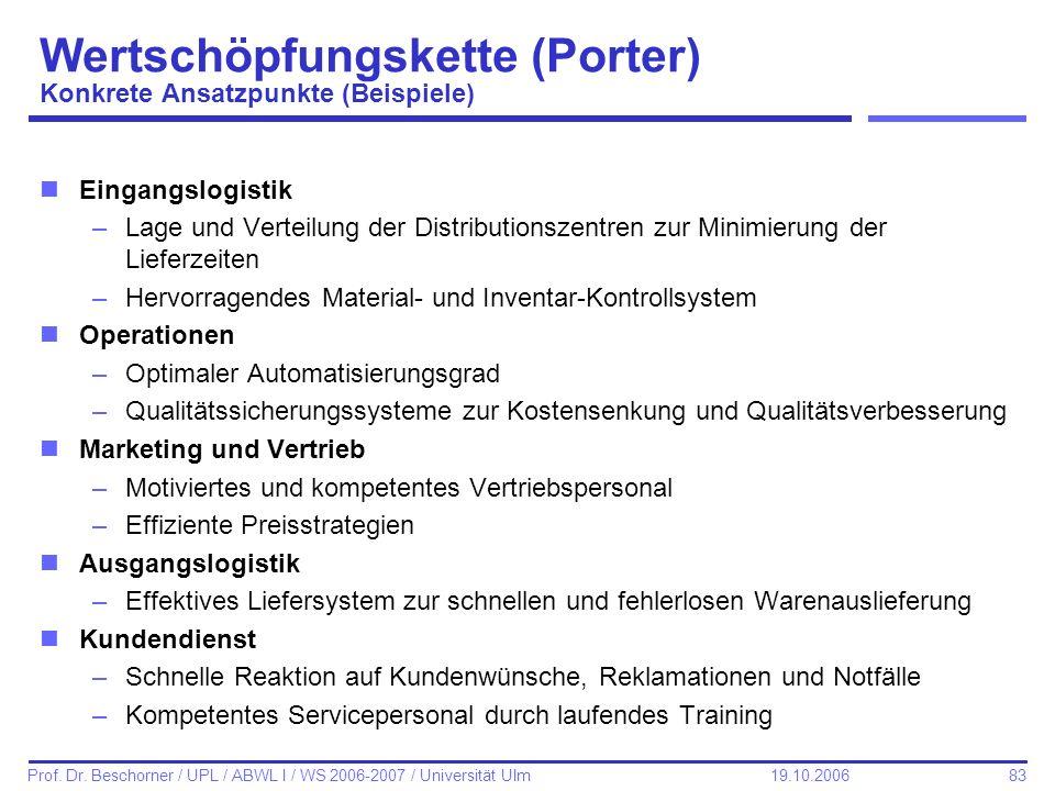 83 Prof. Dr. Beschorner / UPL / ABWL I / WS 2006-2007 / Universität Ulm 19.10.2006 Wertschöpfungskette (Porter) Konkrete Ansatzpunkte (Beispiele) nEin