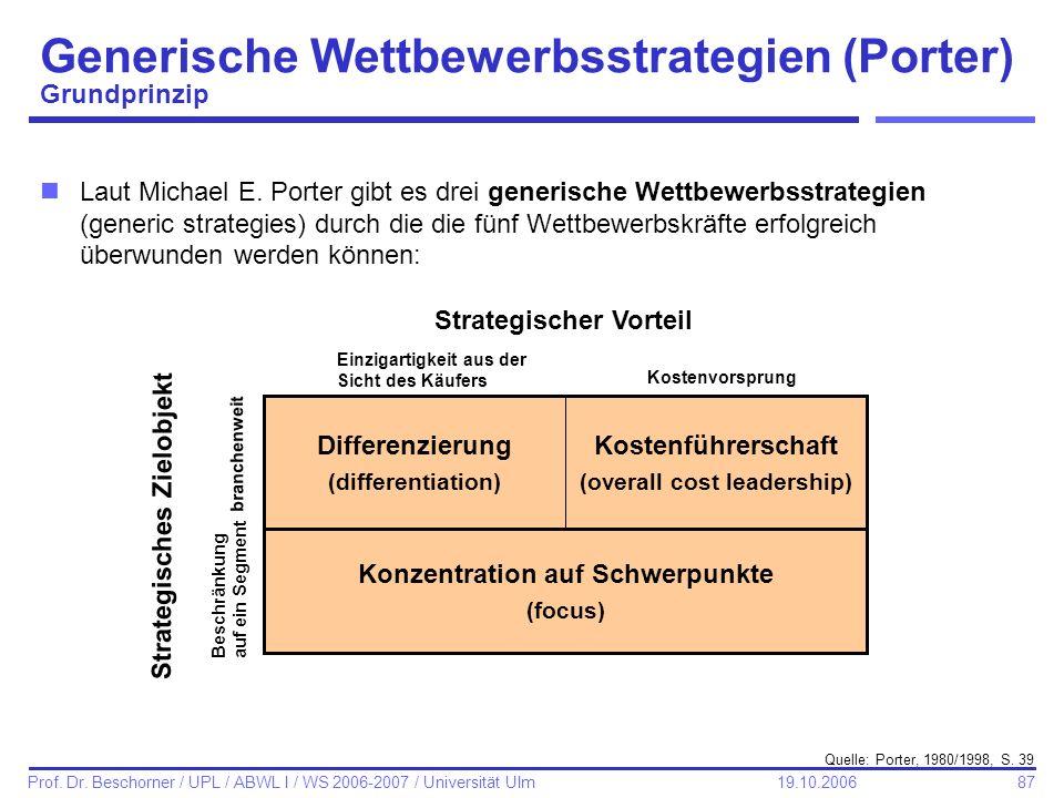 87 Prof. Dr. Beschorner / UPL / ABWL I / WS 2006-2007 / Universität Ulm 19.10.2006 Generische Wettbewerbsstrategien (Porter) Grundprinzip Kostenführer