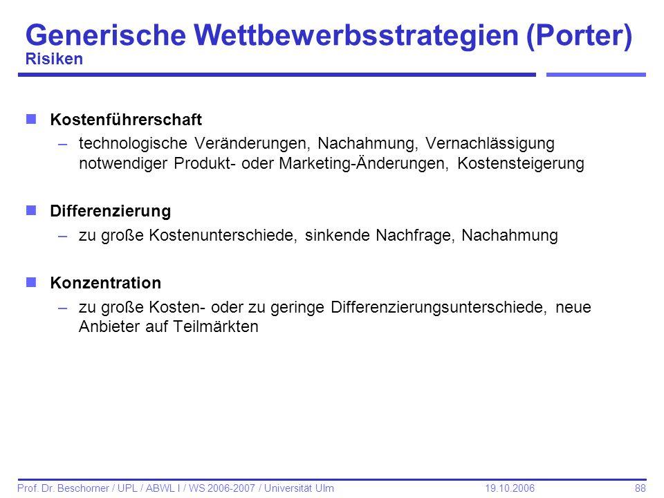 88 Prof. Dr. Beschorner / UPL / ABWL I / WS 2006-2007 / Universität Ulm 19.10.2006 Generische Wettbewerbsstrategien (Porter) Risiken nKostenführerscha