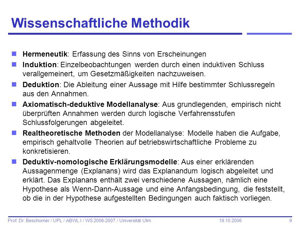 9 Prof. Dr. Beschorner / UPL / ABWL I / WS 2006-2007 / Universität Ulm 19.10.2006 Wissenschaftliche Methodik nHermeneutik: Erfassung des Sinns von Ers