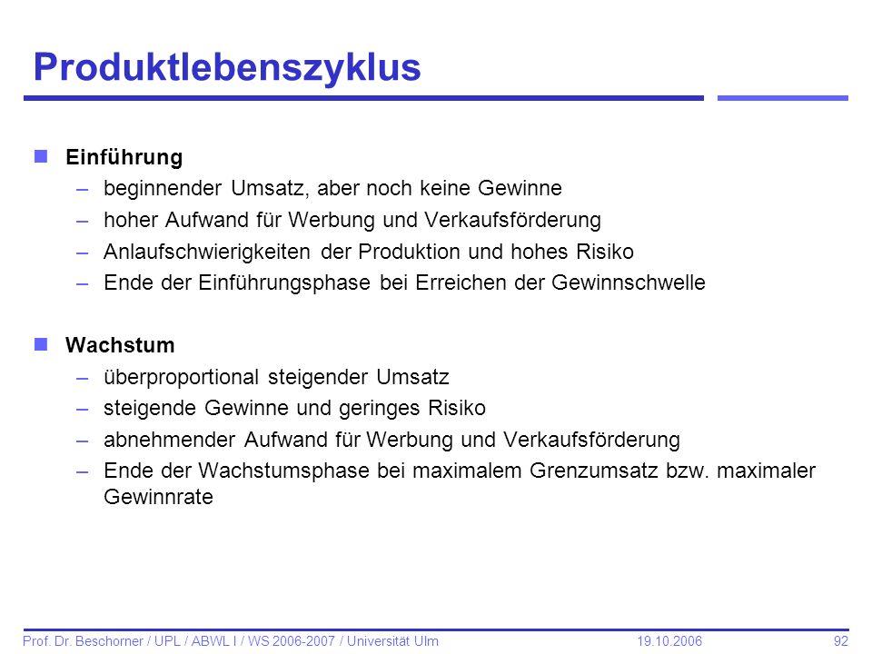 92 Prof. Dr. Beschorner / UPL / ABWL I / WS 2006-2007 / Universität Ulm 19.10.2006 Produktlebenszyklus nEinführung –beginnender Umsatz, aber noch kein
