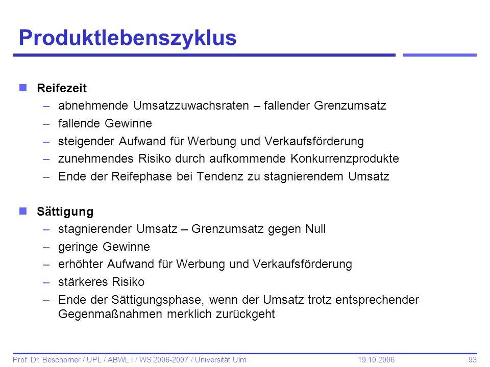 93 Prof. Dr. Beschorner / UPL / ABWL I / WS 2006-2007 / Universität Ulm 19.10.2006 Produktlebenszyklus nReifezeit –abnehmende Umsatzzuwachsraten – fal