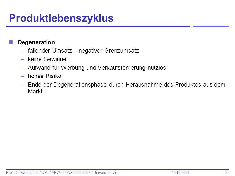 94 Prof. Dr. Beschorner / UPL / ABWL I / WS 2006-2007 / Universität Ulm 19.10.2006 Produktlebenszyklus nDegeneration –fallender Umsatz – negativer Gre