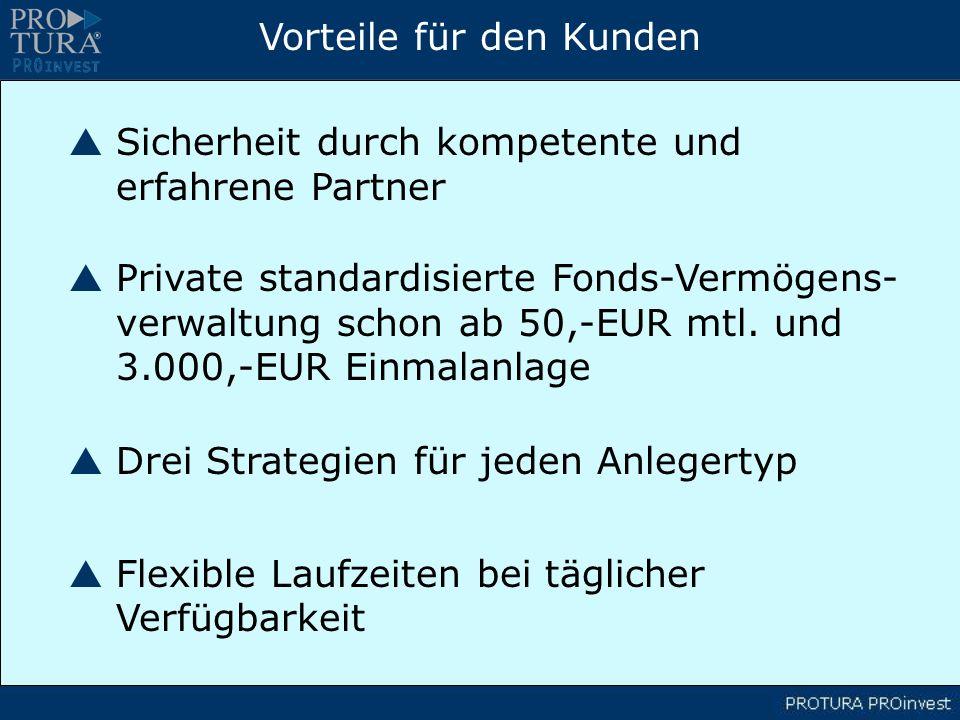 Vorteile für den Kunden Sicherheit durch kompetente und erfahrene Partner Private standardisierte Fonds-Vermögens- verwaltung schon ab 50,-EUR mtl.