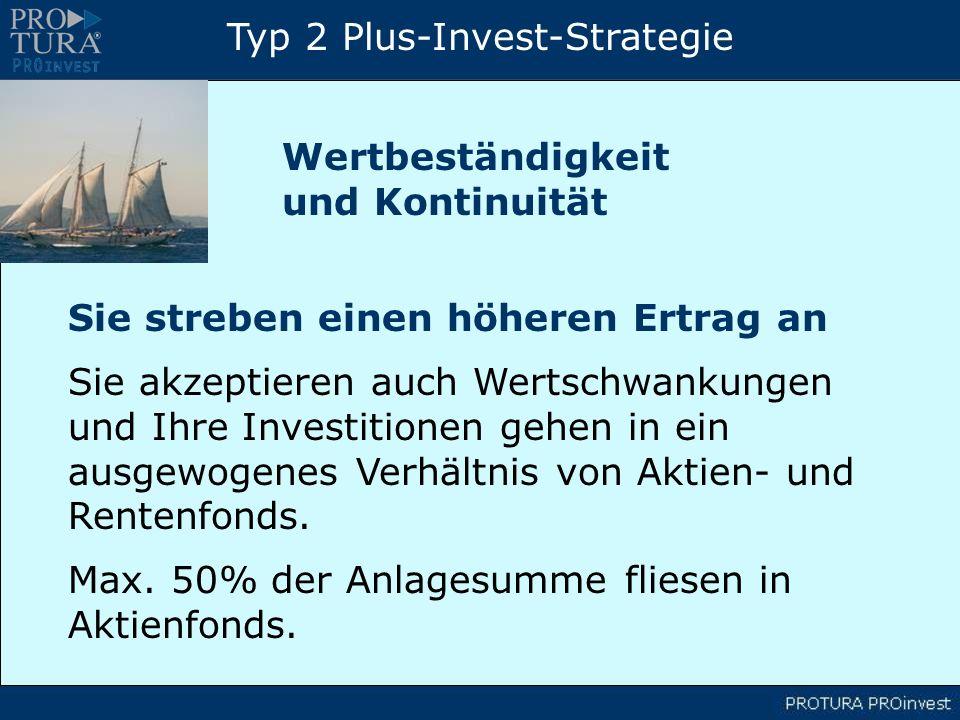 Typ 2 Plus-Invest-Strategie Sie streben einen höheren Ertrag an Sie akzeptieren auch Wertschwankungen und Ihre Investitionen gehen in ein ausgewogenes Verhältnis von Aktien- und Rentenfonds.