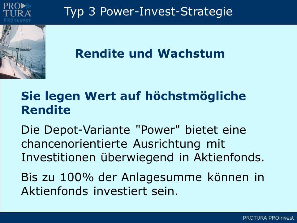 Typ 3 Power-Invest-Strategie Sie legen Wert auf höchstmögliche Rendite Die Depot-Variante Power bietet eine chancenorientierte Ausrichtung mit Investitionen überwiegend in Aktienfonds.