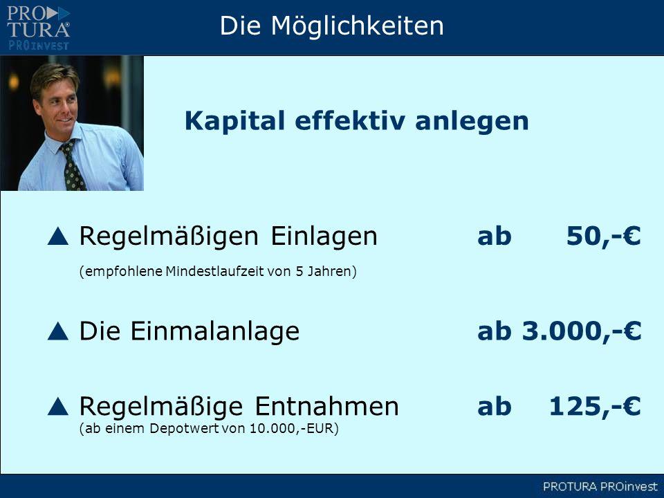 Die Möglichkeiten Regelmäßigen Einlagenab 50,- (empfohlene Mindestlaufzeit von 5 Jahren) Kapital effektiv anlegen Die Einmalanlage ab 3.000,- Regelmäßige Entnahmenab 125,- (ab einem Depotwert von 10.000,-EUR)