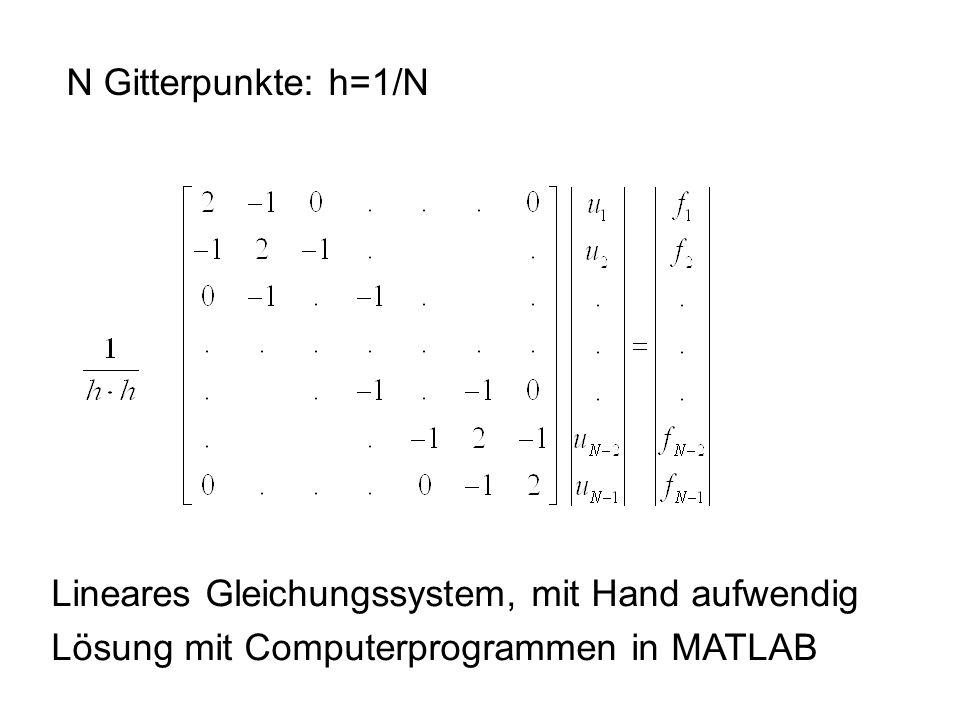 N Gitterpunkte: h=1/N Lineares Gleichungssystem, mit Hand aufwendig Lösung mit Computerprogrammen in MATLAB
