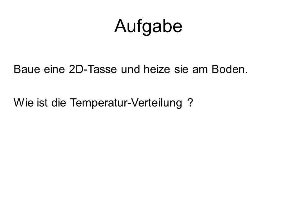 Aufgabe Baue eine 2D-Tasse und heize sie am Boden. Wie ist die Temperatur-Verteilung ?