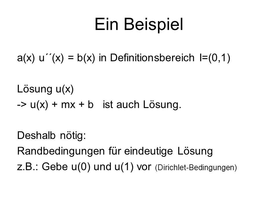 a(x) u´´(x) = b(x) in Definitionsbereich I=(0,1) Lösung u(x) -> u(x) + mx + b ist auch Lösung. Deshalb nötig: Randbedingungen für eindeutige Lösung z.