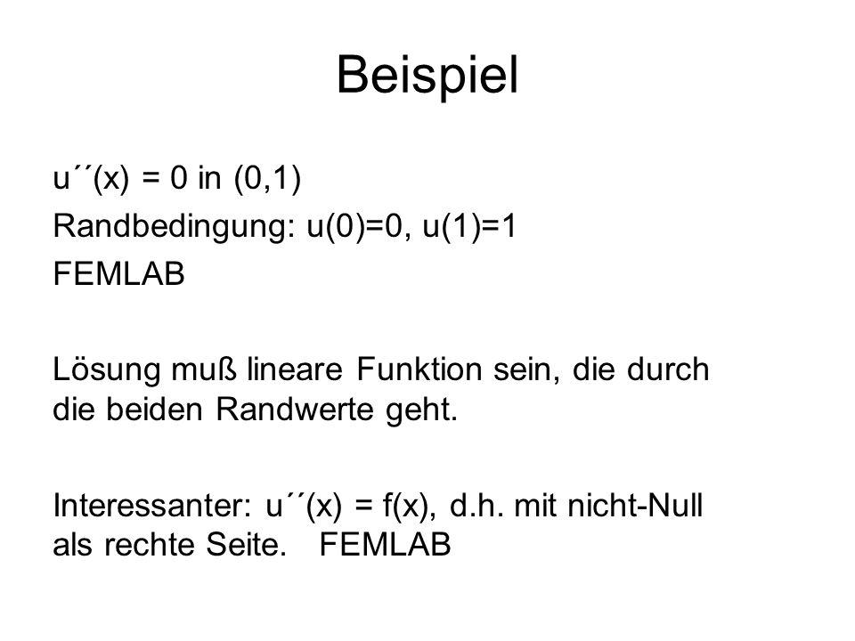 u´´(x) = 0 in (0,1) Randbedingung: u(0)=0, u(1)=1 FEMLAB Lösung muß lineare Funktion sein, die durch die beiden Randwerte geht. Interessanter: u´´(x)