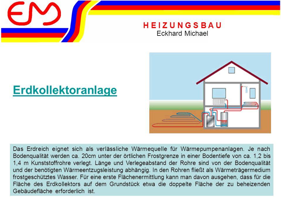 H E I Z U N G S B A U Eckhard Michael Erdsondenanlage Bei kleinen Grundstücksflächen bzw.