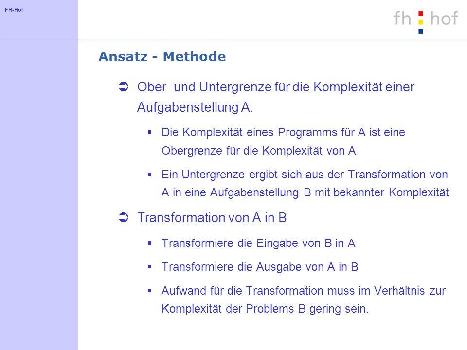 FH-Hof Ansatz - Methode Ober- und Untergrenze für die Komplexität einer Aufgabenstellung A: Die Komplexität eines Programms für A ist eine Obergrenze