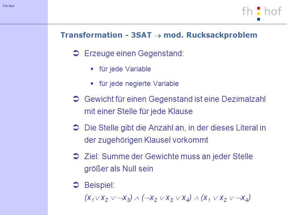 FH-Hof Transformation - 3SAT mod. Rucksackproblem Erzeuge einen Gegenstand: für jede Variable für jede negierte Variable Gewicht für einen Gegenstand