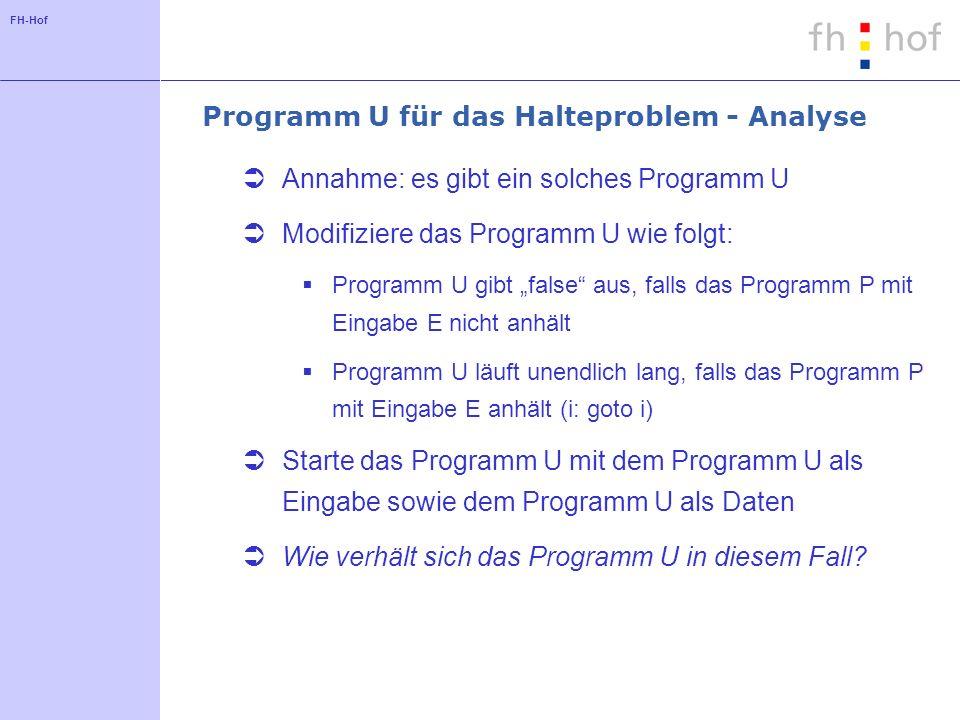 FH-Hof Programm U für das Halteproblem - Analyse Annahme: es gibt ein solches Programm U Modifiziere das Programm U wie folgt: Programm U gibt false a