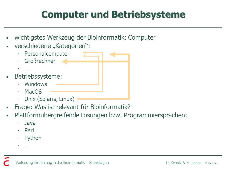 Vorlesung Einführung in die Bioinformatik -Grundlagen U. Scholz & M. Lange Folie #1-11 Computer und Betriebsysteme wichtigstes Werkzeug der Bioinforma