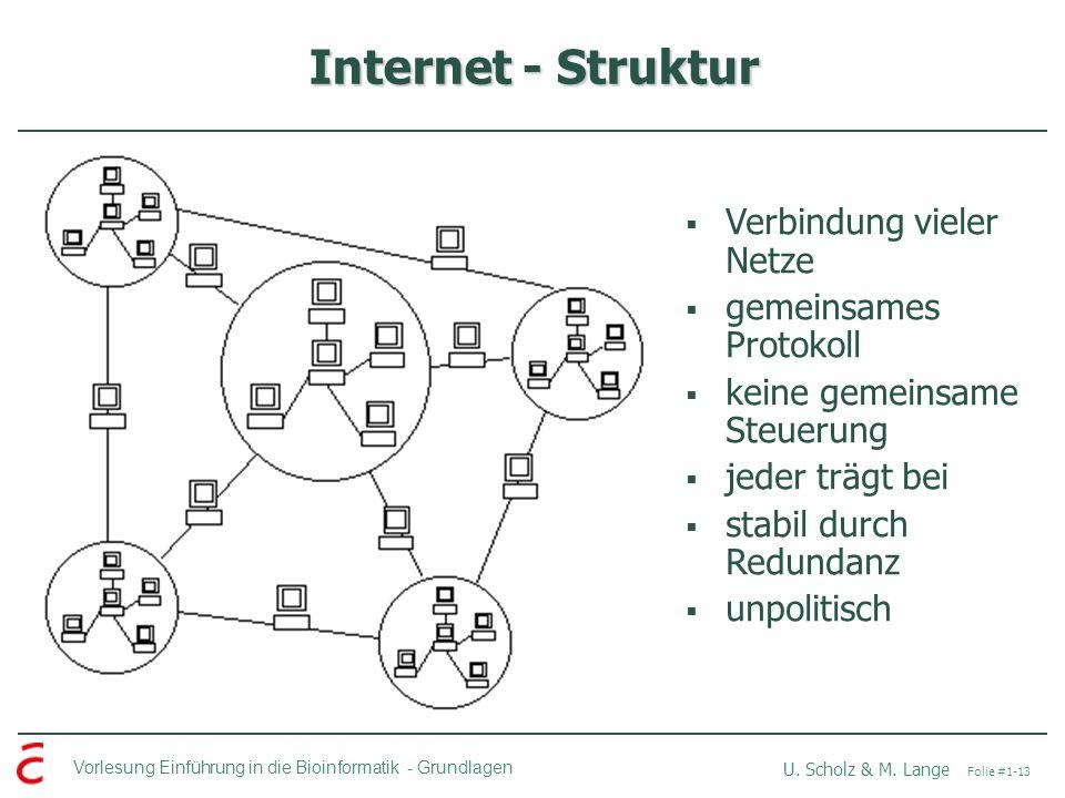 Vorlesung Einführung in die Bioinformatik -Grundlagen U. Scholz & M. Lange Folie #1-13 Internet - Struktur Verbindung vieler Netze gemeinsames Protoko