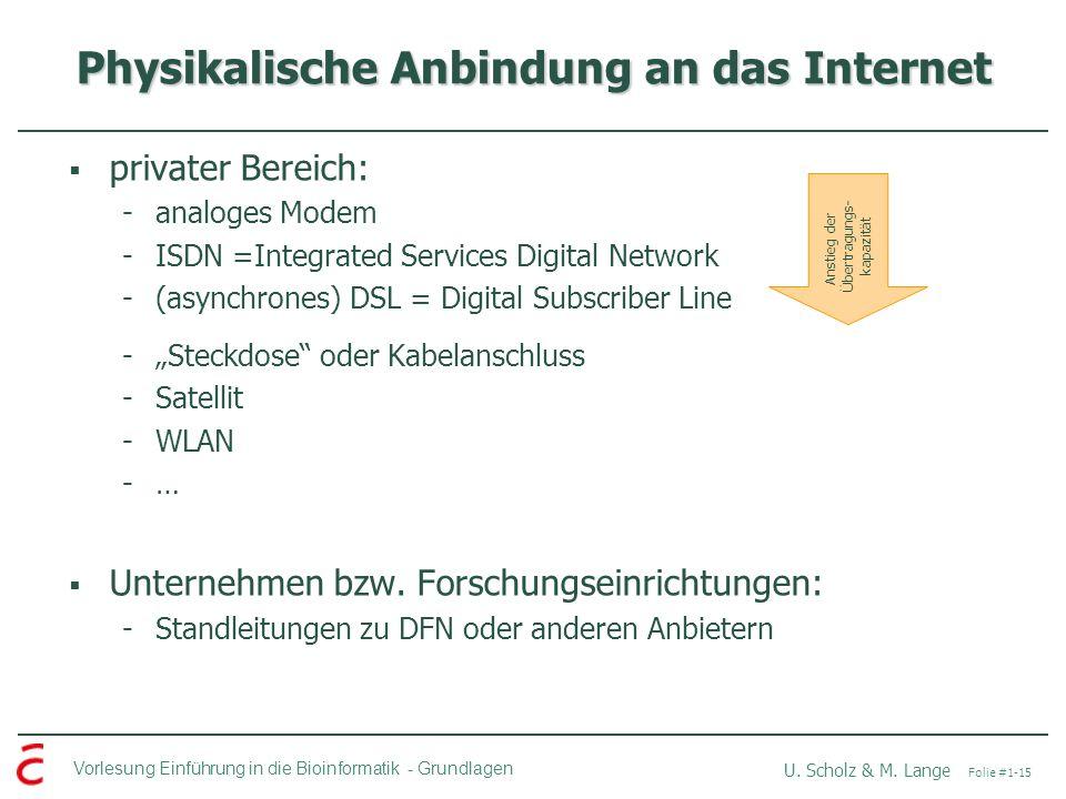 Vorlesung Einführung in die Bioinformatik -Grundlagen U. Scholz & M. Lange Folie #1-15 Physikalische Anbindung an das Internet privater Bereich: -anal