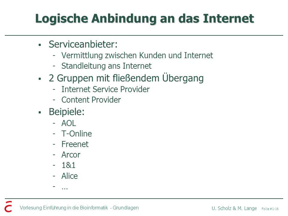 Vorlesung Einführung in die Bioinformatik -Grundlagen U. Scholz & M. Lange Folie #1-16 Logische Anbindung an das Internet Serviceanbieter: -Vermittlun