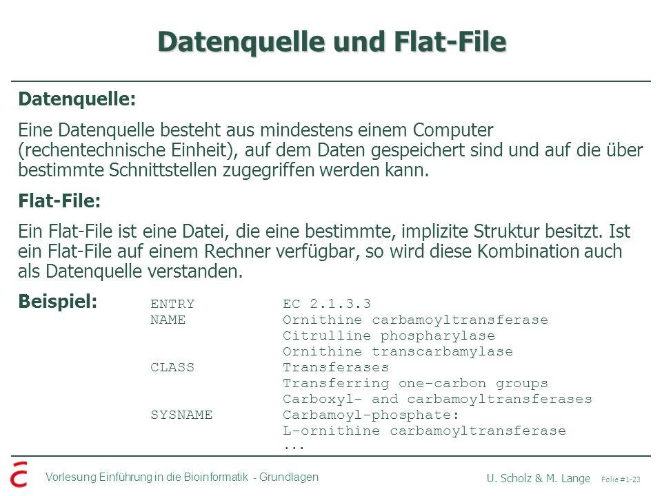 Vorlesung Einführung in die Bioinformatik -Grundlagen U. Scholz & M. Lange Folie #1-23 Datenquelle und Flat-File Datenquelle: Eine Datenquelle besteht