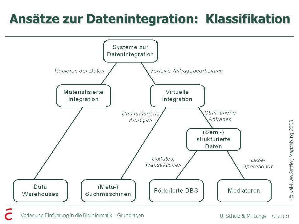 Vorlesung Einführung in die Bioinformatik -Grundlagen U. Scholz & M. Lange Folie #1-26 Ansätze zur Datenintegration: Klassifikation © Kai-Uwe Sattler,