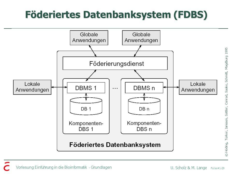Vorlesung Einführung in die Bioinformatik -Grundlagen U. Scholz & M. Lange Folie #1-29 Föderiertes Datenbanksystem (FDBS) © Höding, Türker, Janssen, S