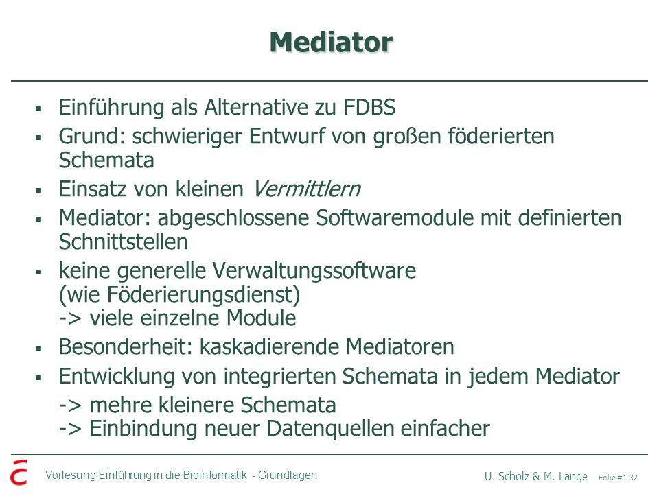 Vorlesung Einführung in die Bioinformatik -Grundlagen U. Scholz & M. Lange Folie #1-32 Mediator Einführung als Alternative zu FDBS Grund: schwieriger