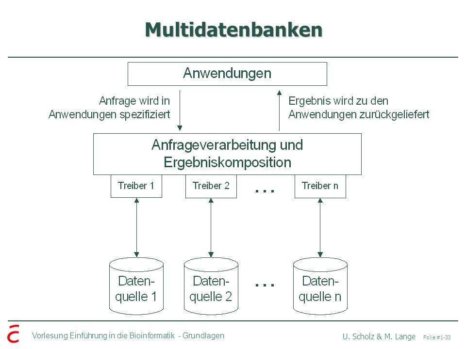 Vorlesung Einführung in die Bioinformatik -Grundlagen U. Scholz & M. Lange Folie #1-33 Multidatenbanken