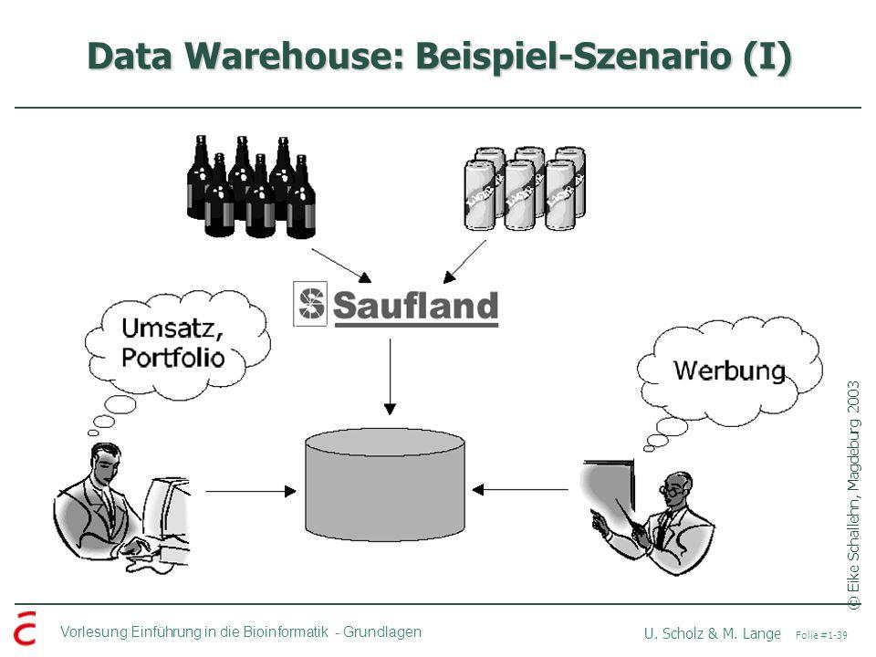 Vorlesung Einführung in die Bioinformatik -Grundlagen U. Scholz & M. Lange Folie #1-39 Data Warehouse: Beispiel-Szenario (I) © Eike Schallehn, Magdebu