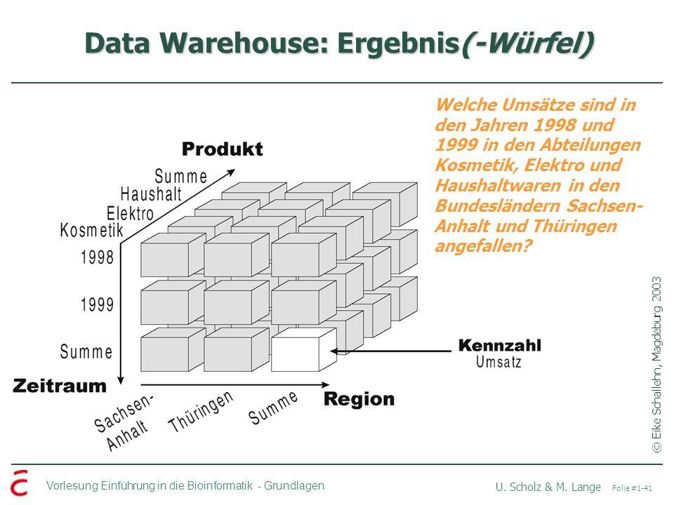 Vorlesung Einführung in die Bioinformatik -Grundlagen U. Scholz & M. Lange Folie #1-41 Data Warehouse: Ergebnis(-Würfel) © Eike Schallehn, Magdeburg 2
