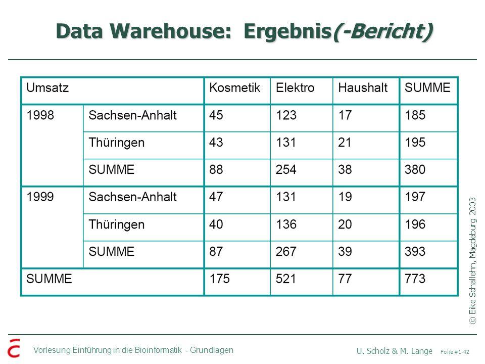 Vorlesung Einführung in die Bioinformatik -Grundlagen U. Scholz & M. Lange Folie #1-42 Data Warehouse: Ergebnis(-Bericht) © Eike Schallehn, Magdeburg