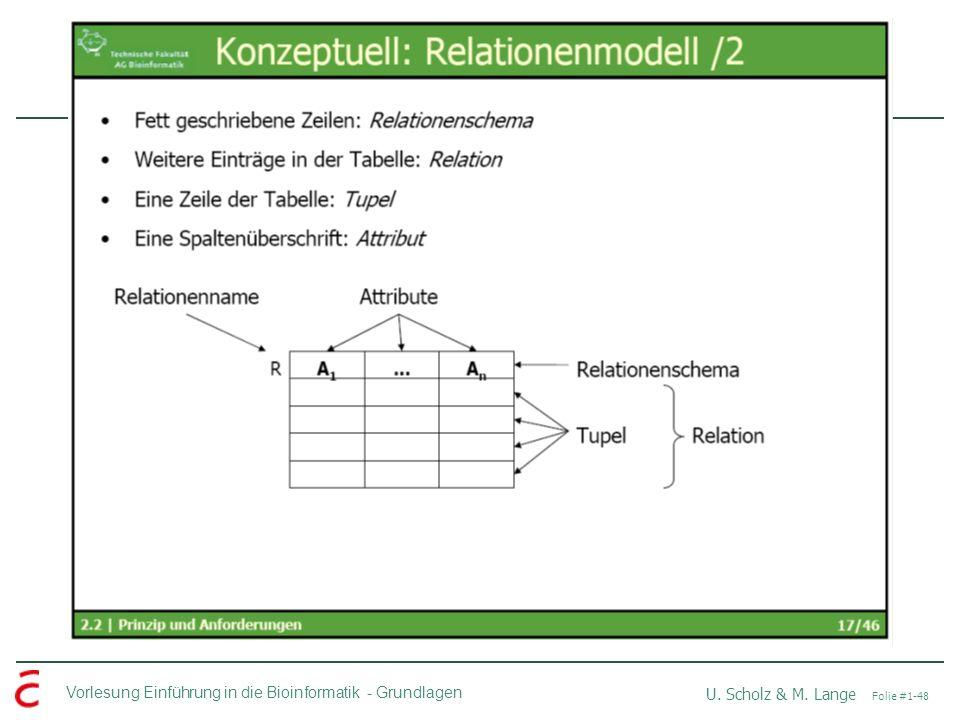 Vorlesung Einführung in die Bioinformatik -Grundlagen U. Scholz & M. Lange Folie #1-48