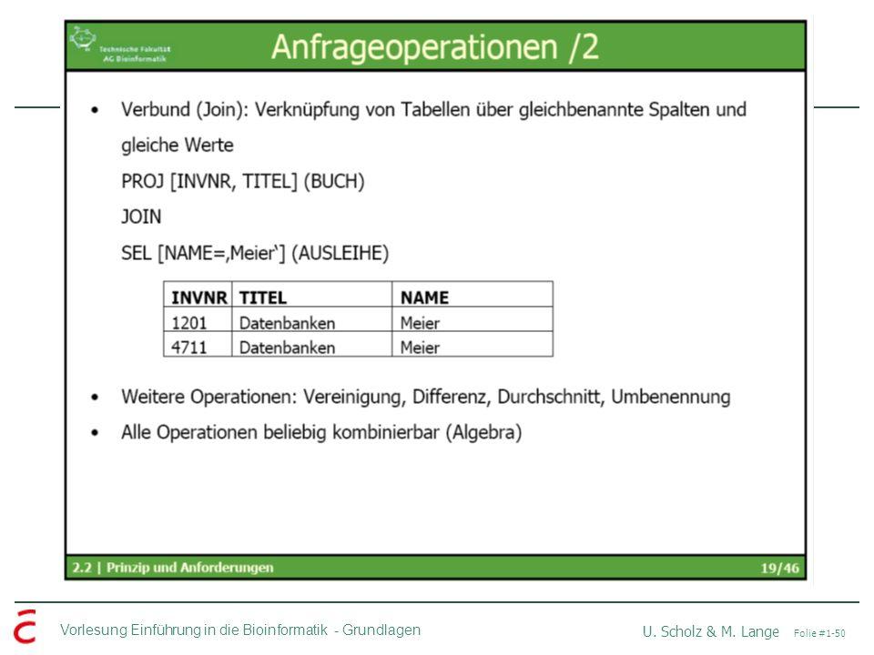 Vorlesung Einführung in die Bioinformatik -Grundlagen U. Scholz & M. Lange Folie #1-50