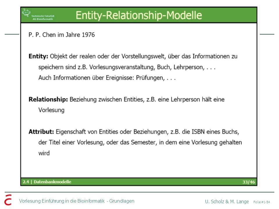 Vorlesung Einführung in die Bioinformatik -Grundlagen U. Scholz & M. Lange Folie #1-54