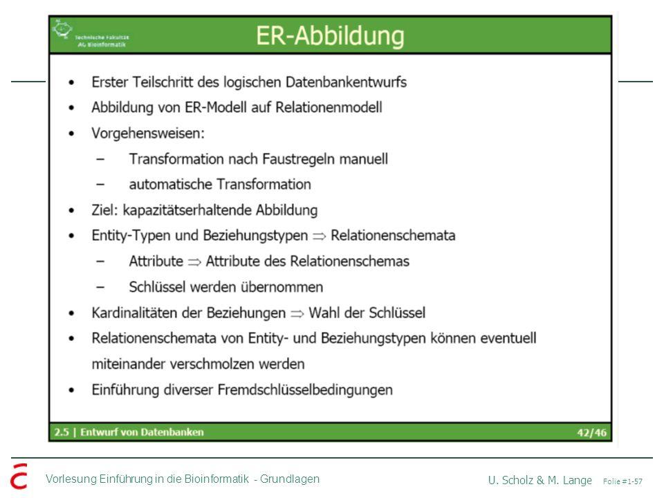 Vorlesung Einführung in die Bioinformatik -Grundlagen U. Scholz & M. Lange Folie #1-57