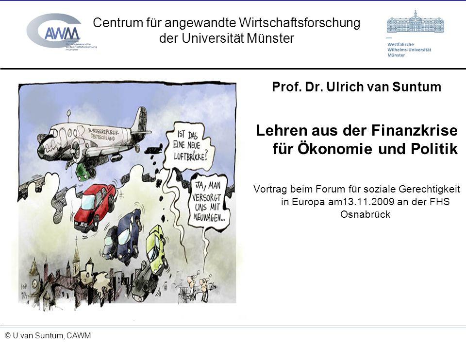 © Prof. Dr. Ulrich van Suntum 6.3.2008 20.1.2009 Prof. Dr. Ulrich van Suntum Lehren aus der Finanzkrise für Ökonomie und Politik Vortrag beim Forum fü