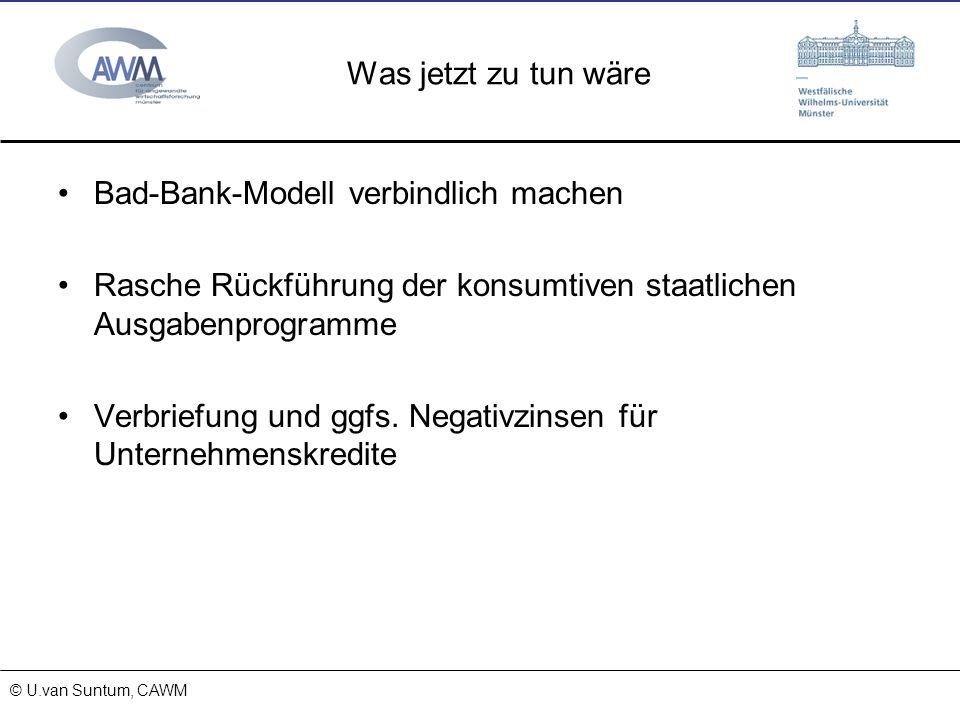 © Prof. Dr. Ulrich van Suntum 6.3.2008 Was jetzt zu tun wäre Bad-Bank-Modell verbindlich machen Rasche Rückführung der konsumtiven staatlichen Ausgabe