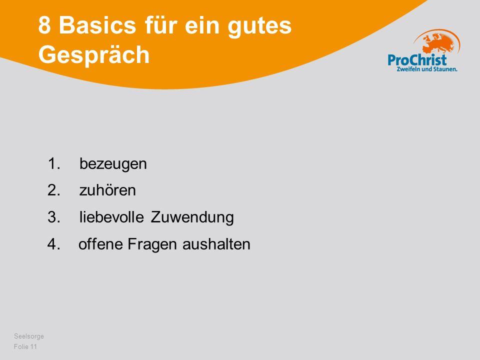 8 Basics für ein gutes Gespräch 1.bezeugen 2.zuhören 3.liebevolle Zuwendung 4. offene Fragen aushalten Seelsorge Folie 11